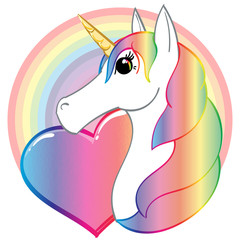 Rainbow Unicorn Heart