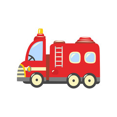 Fire truck, emergency vehicle icon. Red rescue car, fire engine with ladder, water hose and firefighters inside. Firemen transportation symbol. Vector isolated illustration