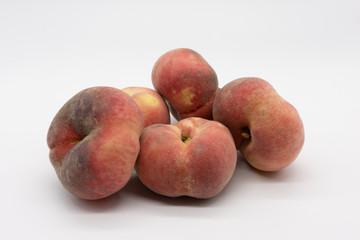 vineyard peaches, isolated on white background
