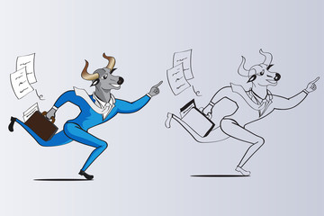 Bull head businessman are running to win object illustration vector