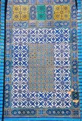 Blue Arabic mosaic tiles pattern
