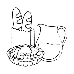 picnic food design with milk pitcher with breads and sweet pie over white background, vector illustration