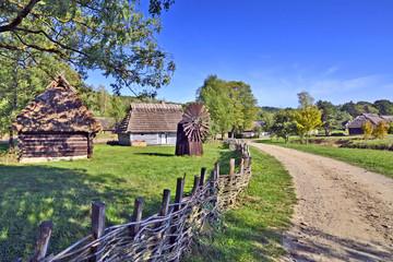 Old wooden farmhouse in ethnography museum in Sanok, Bieszczady, Poland Fototapete
