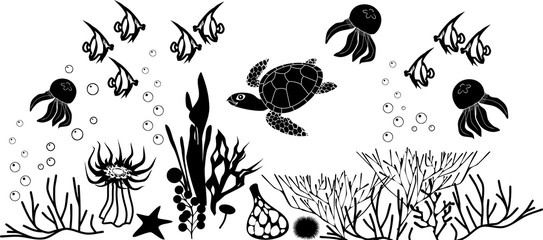 Coral reef with turtle and other marine animals