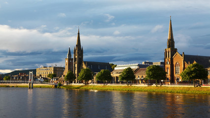 Scene of Inverness, Scotland along the River Ness