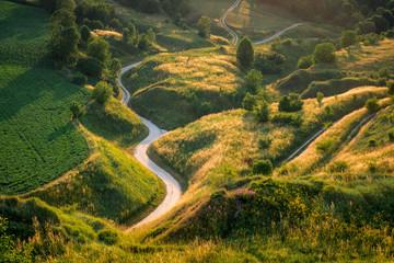 Winding road on Ponidzie, Swietokrzyskie, Poland