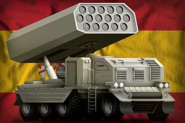 rocket artillery, missile launcher on the Spain national flag background. 3d Illustration