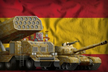 Spain heavy military armored vehicles concept on the national flag background. 3d Illustration