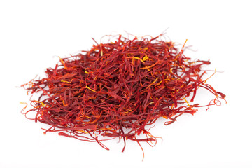 A lot of saffron isolated on white