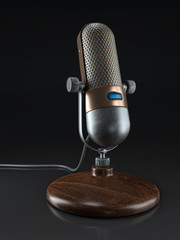 Vintage microphone with wooden stand