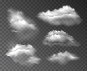 Vector collection of realistic transparent clouds isolated on dark background