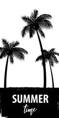 Summer time palm tree banner poster