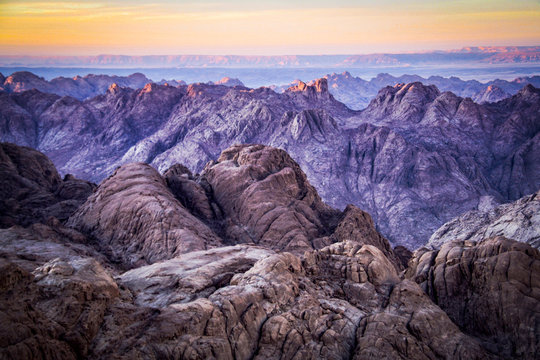 Sunset from the summit of Mt Sinai in the St Catherine area of Egypt