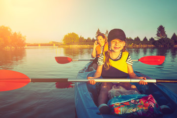 Wild nature and water fun on summer vacation. Camping and fishing.