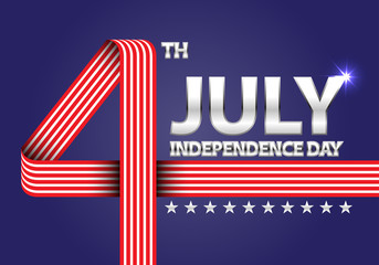 4th July Independence day of the USA number red white ribbon on blue celebration holiday background vector illustration.