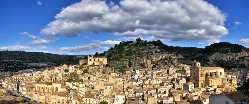Panoramic view of Scicli, Sicily, one of the symbolic cities of Italian baroque, along with other 7 Val di Noto's villages