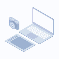 Vector isometric camera tablet laptop set
