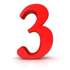 3 number three third red 3d isolated