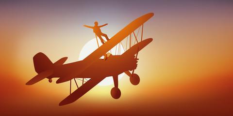 avion - acrobatie - cascadeur - aérienne - voltige - aérien - sport extrême - biplan - vol acrobatique