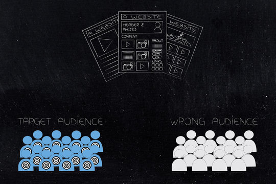 different type of websites with target audience and wrong audience below
