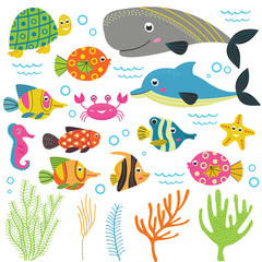 set of isolated with marine animals part 2 -  vector illustration, eps