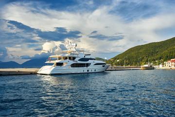 Yacht in port of Sami, Kefalonia, Ionian Islands, Greece