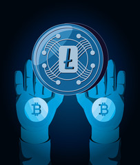 hands with litecoin coin over blue background, colorful design. vector illustration