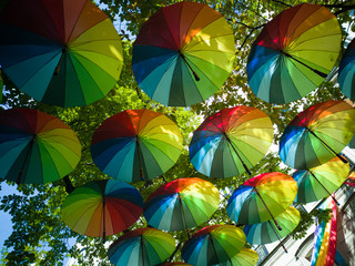 To prepare the Gay Pride in Paris, dozens of umbrellas in the colors of the rainbow were hung.