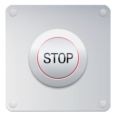 Stop button on a chrome panel to stop machines or instruments, but also injustices, oppressions, insults, addictions, missteps, increase, expansion, destruction or many other issues.