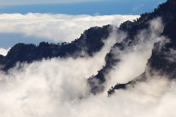 Clouds in Caldera de Taburiente, La Palma´s Island, Canary Islands, Spain