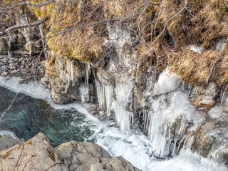 Frozen river in Skaftafell national park, Iceland