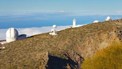 Complex of buildings of an Astronomical Observatory in Caldera de Taburiente, La Palma´s Island, Canary Islands, Spain