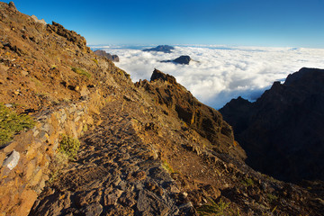 Mountain way above the crater Caldera de Taburiente, Island of La Palma, Canary Islands, Spain