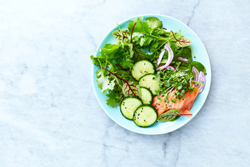 Mixed leaf salad with smoked salmon, cucumber, red onion, herbs and black kumin. Healthy diet. Low carb meal. Flat lay. Copy space