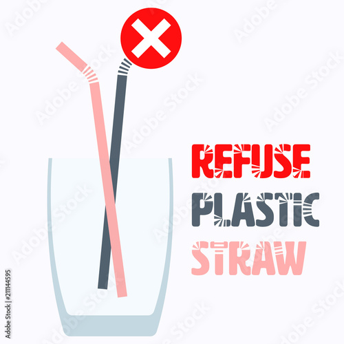 Plastic straw flat icon and no check mark symbol with typographic