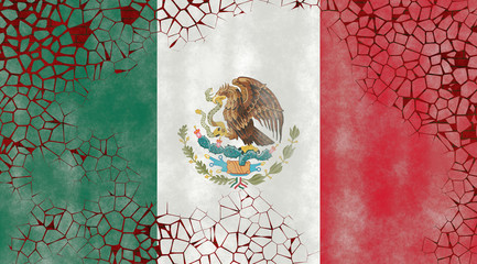 Illustration of a Mexican Flag, imitating of a painting on the old wall with cracks