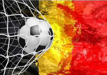 soccer ball in the grid portal, Belgium. abstract colors of the Belgian flag.