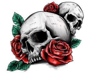 Disegno di una tatuaggio con dei teschi e delle rose di contorno