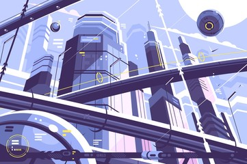 City metropolis of future Wall mural