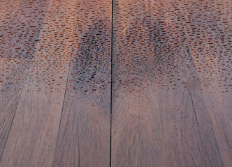 Wooden planks bathed in the rain