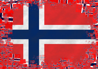 Illustration of Norwegian flag with a frame of small flags