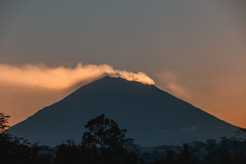 Fantastic sunrise with amazing view on volcano Agung and Jungles with Rice Terraces in Bali. series travels.
