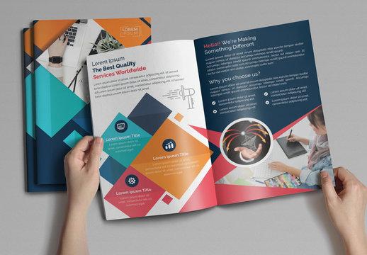 Colorful Geometric Bi-Fold Brochure Layout