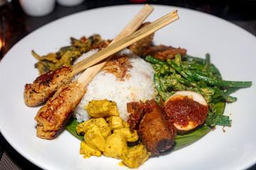Balinese traditional dish, nasi campur