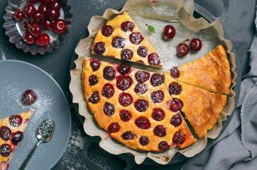 Cottage Cheese Cherry Pie, Homemade Cherry Pie on Grey Background