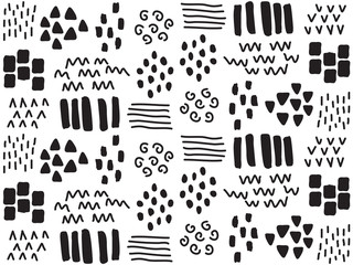Abstract Pattern. Black and White. Seamless. Vector.