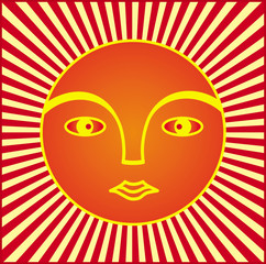 The symbol of the sun. The face of a man in a halo of rays. Symbol graphics in yellow, orange and red tones. Vector.