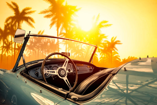 Summer car and sunset time