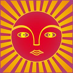 The symbol of the sun. The face of a man in a halo of rays. Symbol graphics in purple, yellow, orange and red tones. Vector.