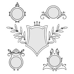 Collection of vector frames with ornamental vintage decoration, isolated on white background
